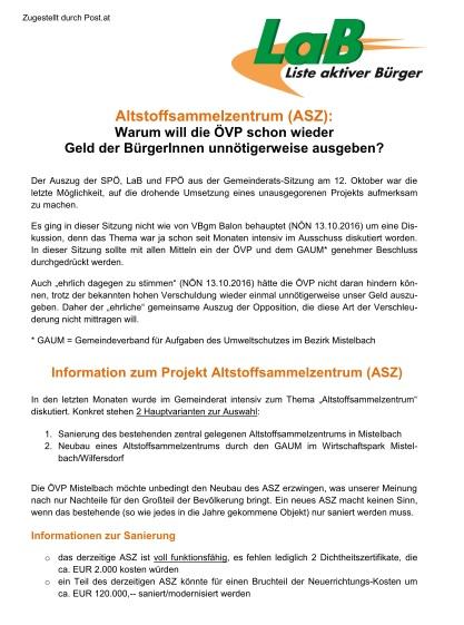 Aussendungen Liste Aktiver Bürgerinnen Mistelbach